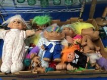 Box of troll dolls at Brimfield