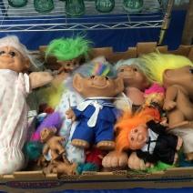 Box of troll dolls at Brimfield