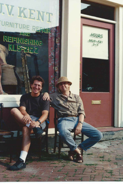 Jim Kent and Jim Erickson on set of Love Field, 1990