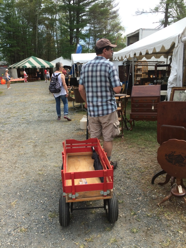 Jim with wagon at Brimfield