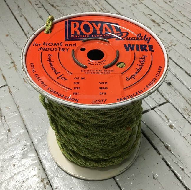 Royal Electric Company spool of vintage cloth covered wire