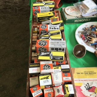 Old radio tubes, new in box, at Brimfield