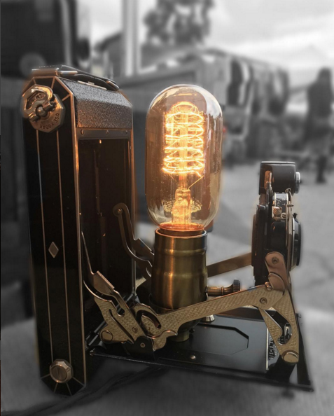 Raphael Creations vintage camera lamp