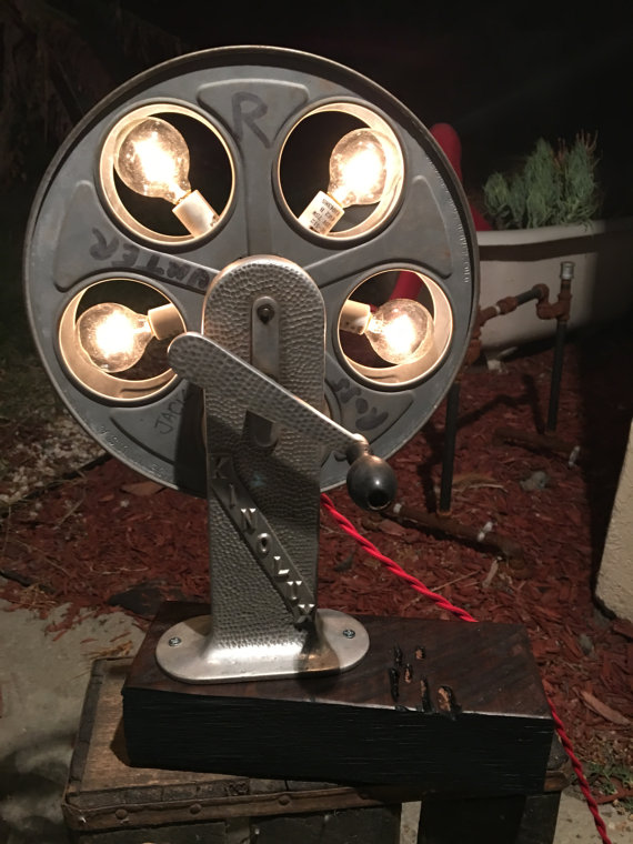 Raphael Creations vintage film reel lamp